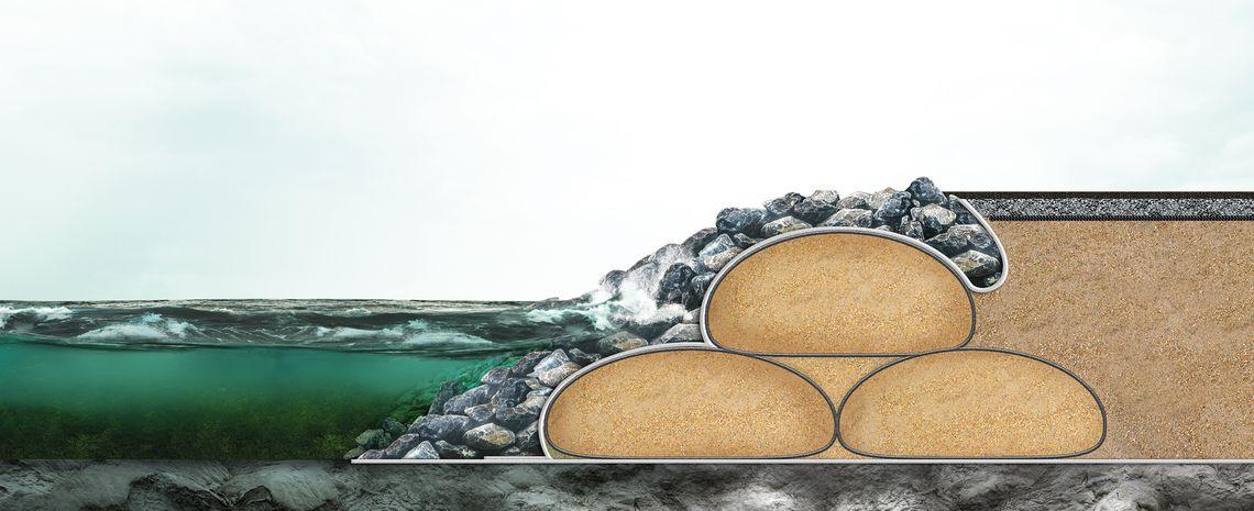 SoilTain para protección de costas